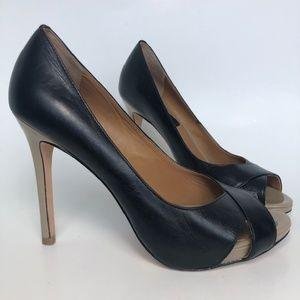 Ann Taylor Black Beige Leather Open Toe Heels Size